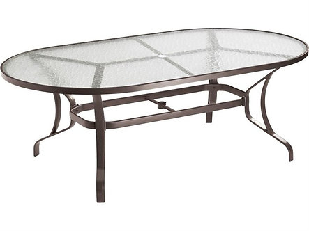 Obscure Glass Cast Aluminum 84''W x 42''D Oval Dining Table with Umbrella Hole
