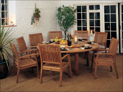"Barlow Tyrie Drummond 8 Seat 73"" Round Dining Set"