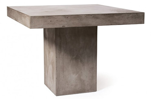 "Concrete 39"" Sq Dining Table w/ Pedestal Base"