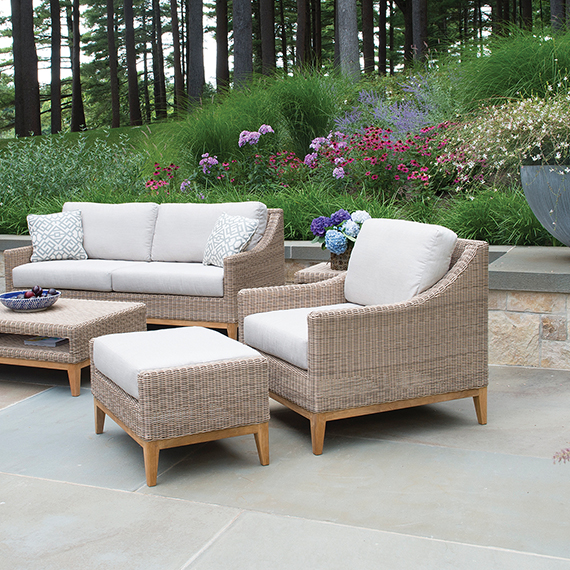 Kingsley Bate Frances Loveseat and Lounge Chairs and Coffee Table