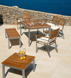 Barlow Tyrie Equinox Dining Table and Dining Chairs and Bench