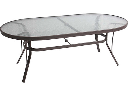 Cast Aluminum 76'' Oval Glass Top Dining Table