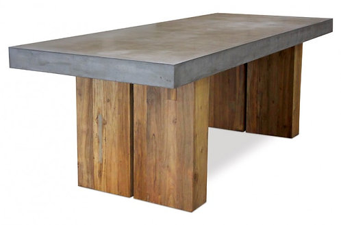 "Concrete Top 87"" Rect Dining Table with Wood Base"
