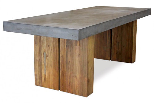 "Concrete Dining Table with Wood Base 87""x36"""