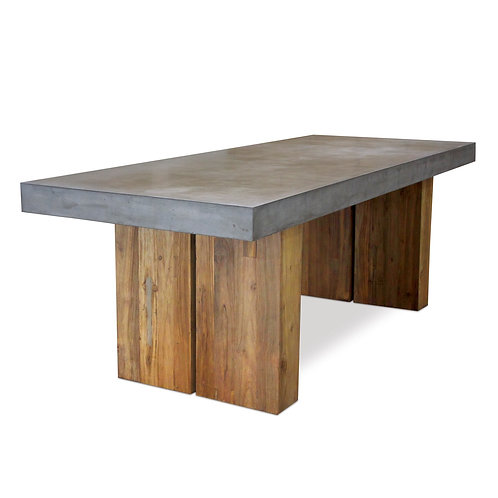 """Concrete Dining Table with Wood Base 118""""x36"""""""