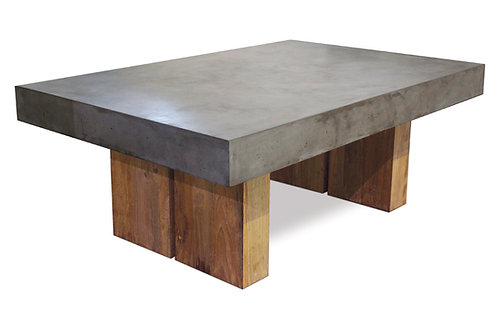 """Concrete Coffee Table with Wood Base 48""""x32"""""""