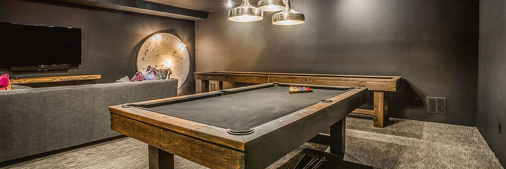 Example Pool table and game room with pool table that we sellsetup