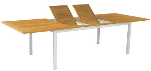 "115""  -80"" Rect Extending Dining Table Metal w/Teak Top"