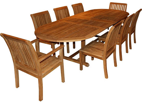 Kingsley Bate 10 Seat Extending Oval Dining Set