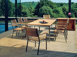 Barlow Tyrie Equinox Teak and Slat Dining Table and Set