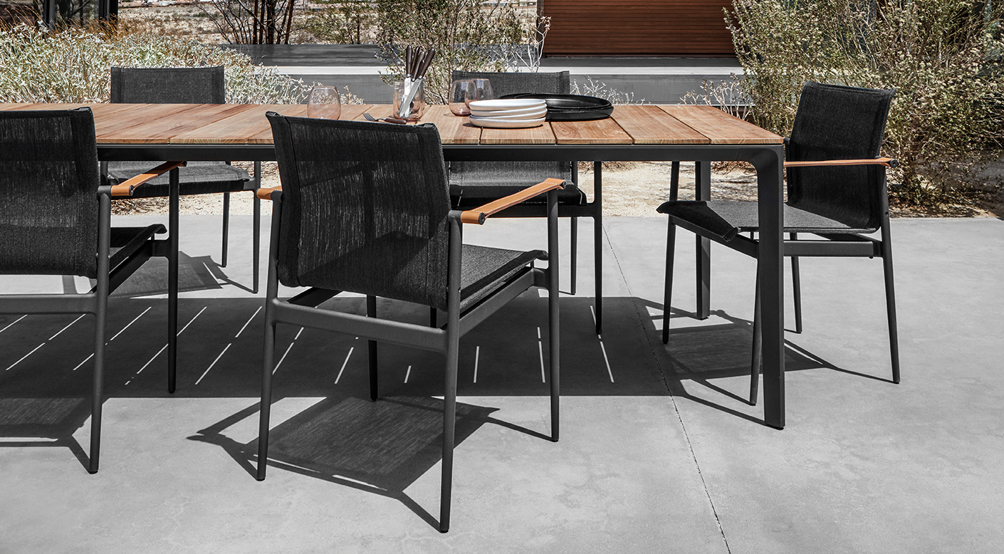 Gloster 180 Dining Set and Dining Chairs with Arms