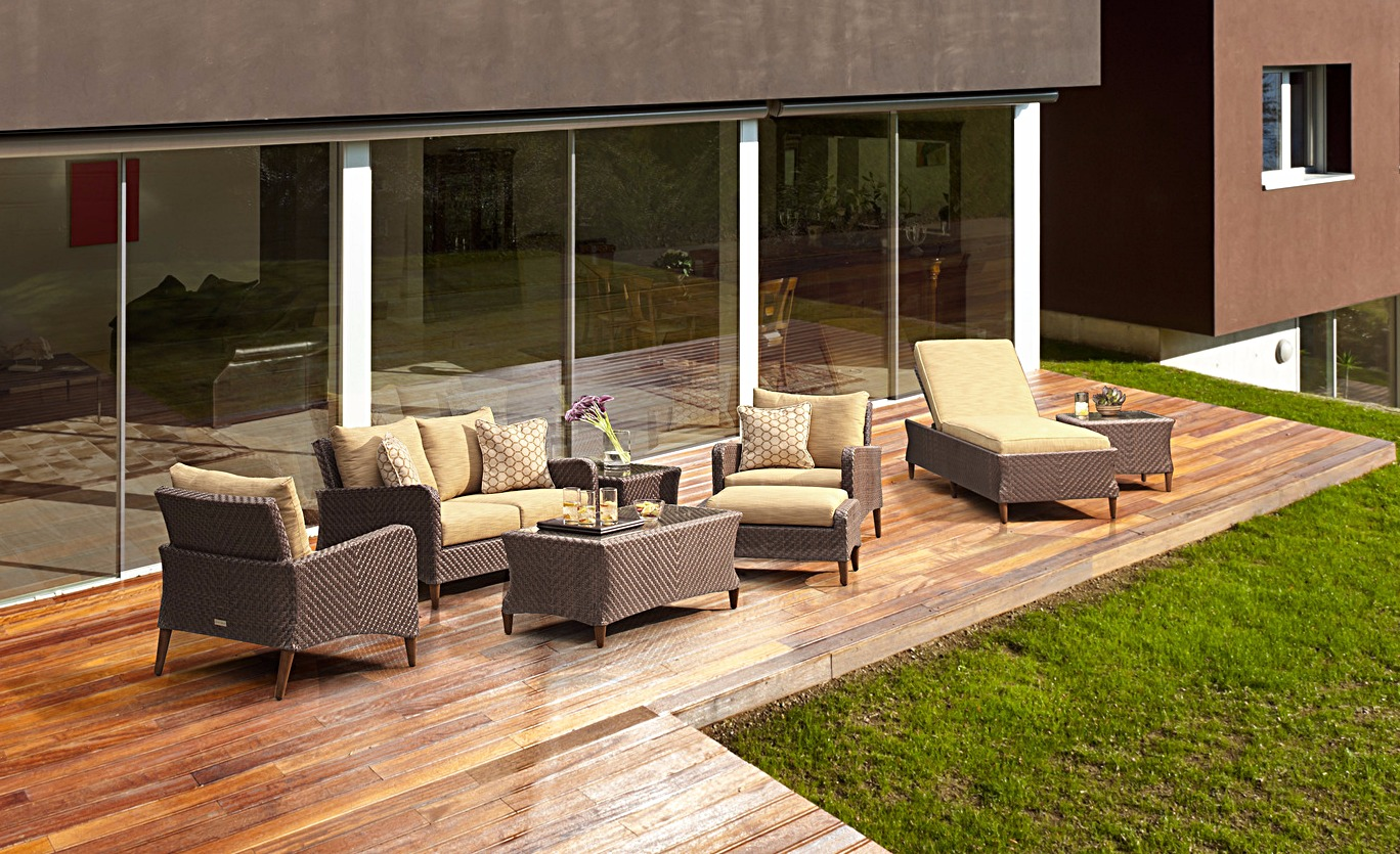 Brown Jordan Greenwich Loveseat and Lounge Chair and Chaise and Coffee Table