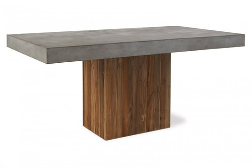 """67"""" Concrete Dining Table with Pedestal Wood Base 67"""""""