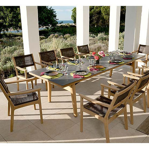 "Barlow Tyrie 118"" Ceramic Dining Set w/Braided Armchairs"
