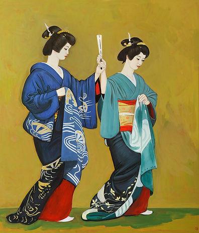 Две гейши.   2018 фанера, левкас, темпер