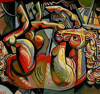 Раненый конь.  1992  50х60   х.м.JPG