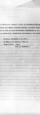 Protocolo de Autopsia. 6 de setiembre de 1976. Archivo de la Comisión para la Paz - Carpetas NN.