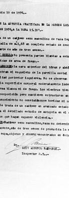 Protocolo de Autopsia, practicada en la morgue local el 26 de mayo de 1976 a las 15:30 hs., 10 de junio de 1976. Archivo de la Comisión para la Paz - Carpetas NN.