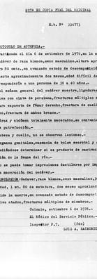 Protocolo de la autopsia, 6 de setiembre de 1976, morgue local de Colonia. Archivo de la Comisión para la Paz – Carpetas NN.