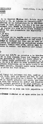 Prefectura Nacional Naval, División Información, Sección técnica, Of Laboratorio, Montevideo 6 de septiembre de 1976. Archivo de la Comisión para la Paz – Carpetas NN.