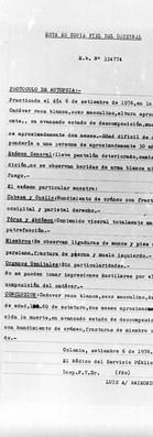 Protocolo de Autopsia, 6 de setiembre de 1976, Dr. Luis Raimondi. En Archivo de la Secretaría de Derechos Humanos para el Pasado Reciente. Archivo de la Comisión para la Paz. Carpetas N.N.