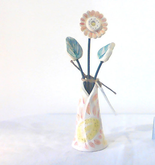 Medium Vase and Flowers Peach/Green