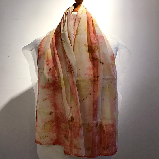 Eco Dyed Cotton Scarf - Pale Madder and Mixed Leaves
