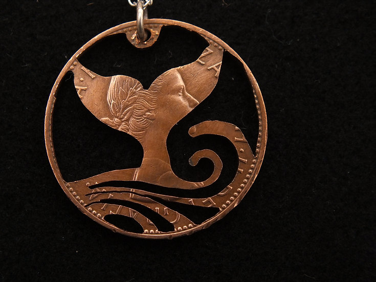 Whale Tail Penny Pendant