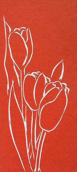 Red Tulips Lino Cut