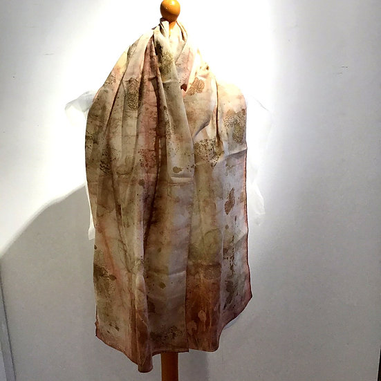 Eco Dyed Cotton Scarf -Dogwood and Madder
