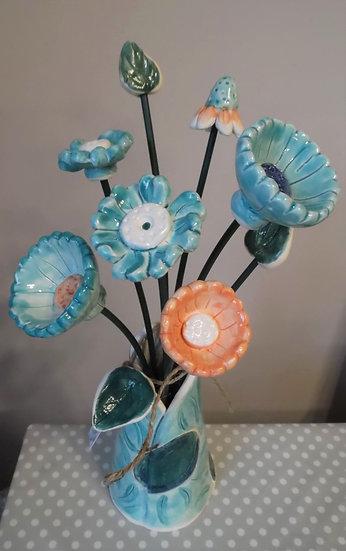 Large turquoise vase 6 flowers