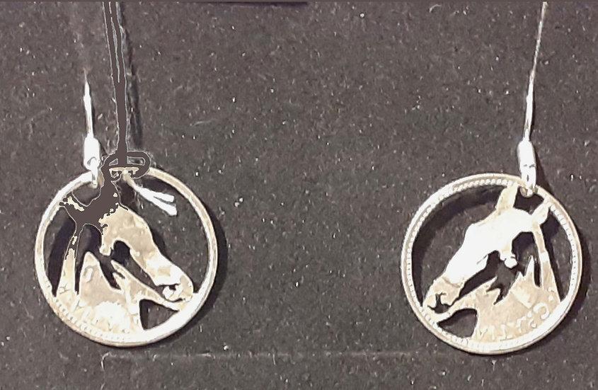 Horses Head Sixpence Earrings