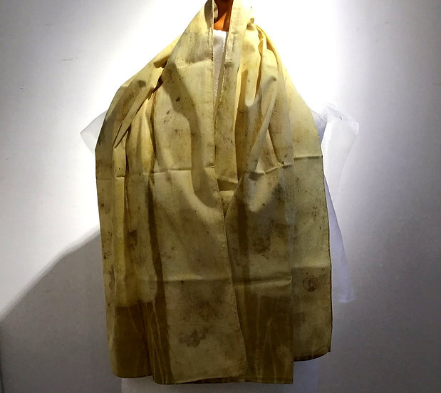 Eco Dyed Cotton Scarf - Forsythia and Oak Leaves