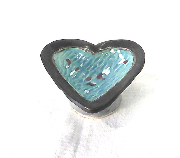 Blue Gold Heart Dish