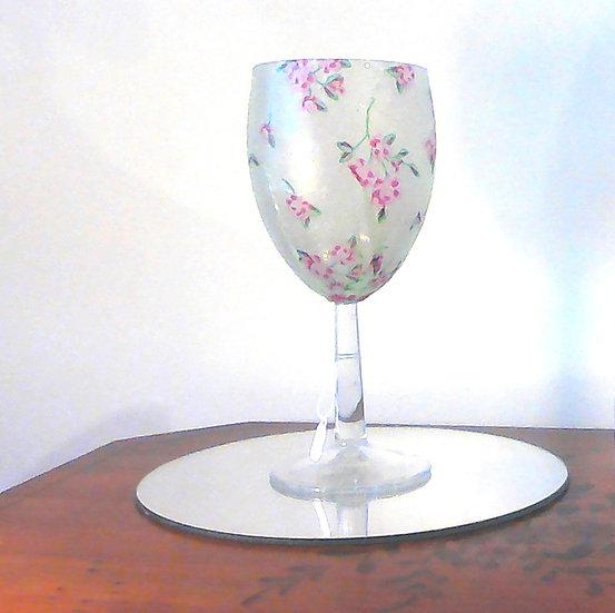 Stemmed Glass Pink Blossom