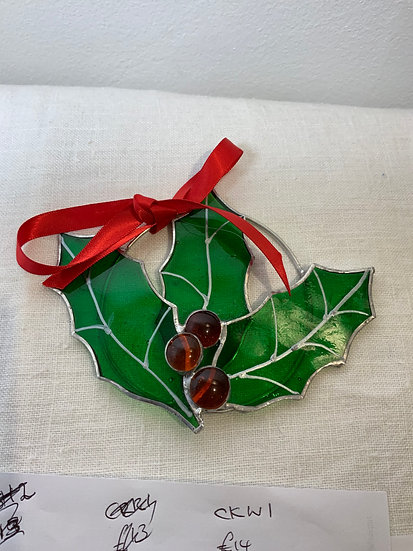 Holly Wreath Fused Glass
