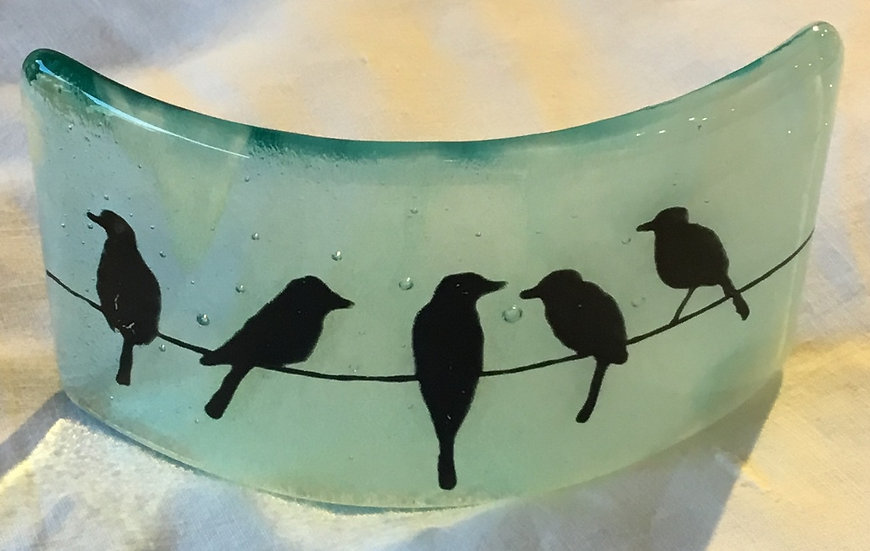 Aqua Birds Candle Screen