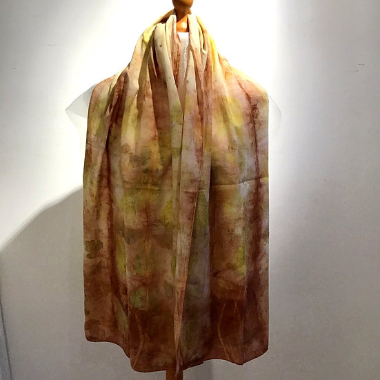 Eco Dyed Cotton Scarf - Dark Madder and Mixed Leaves