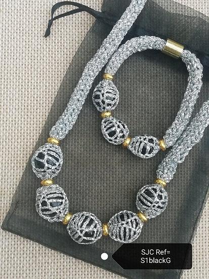 Necklace & Bracelet Set-Silver & Black