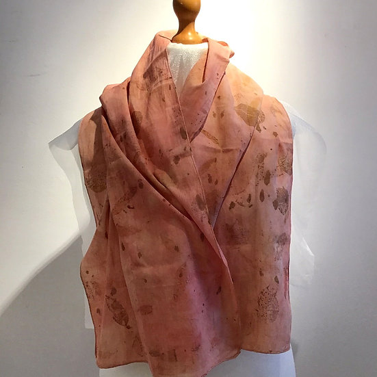 Eco Dyed Cotton Scarf -Madder and Eucalyptus