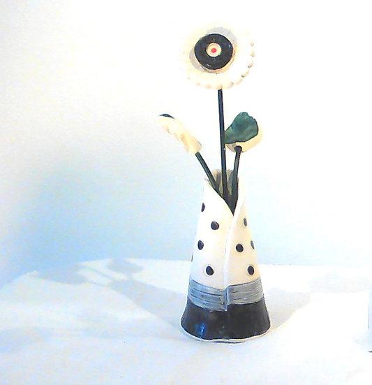 Large Vase and Flowers Black Stripe