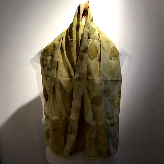 Eco Dyed Cotton Scarf - Dark Chamomile and Hornbeam