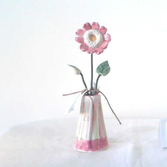 Medium Vase and Flowers Pink/Stripe