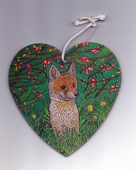 Fox and flower heart