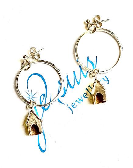 Silver Hoop House Earrings