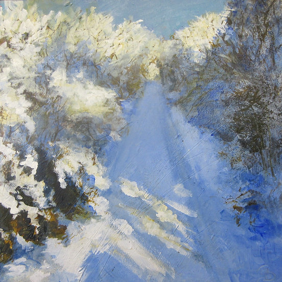 Down A Blue and Pale Gold Snow Path Acrylic On Board 6x6 in