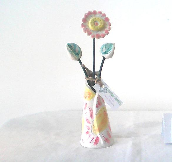 Medium Vase and Flowers Pink/Yellow