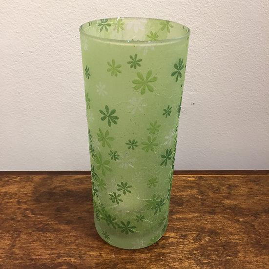 Cylinder Vase Green Embossed