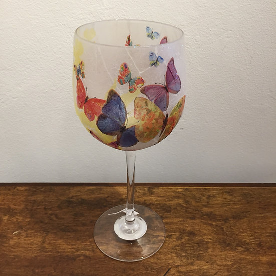 Large Stemmed Glass Cream Butterfly