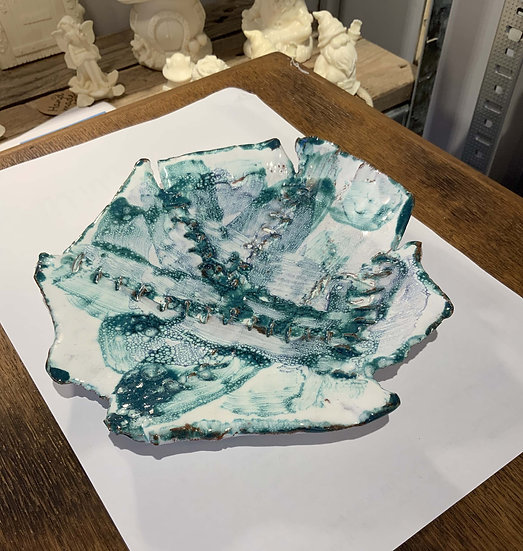 Turquoise and White Dish